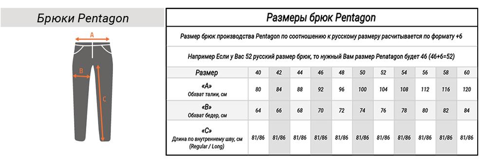 Размерная таблица брюк Pentagon