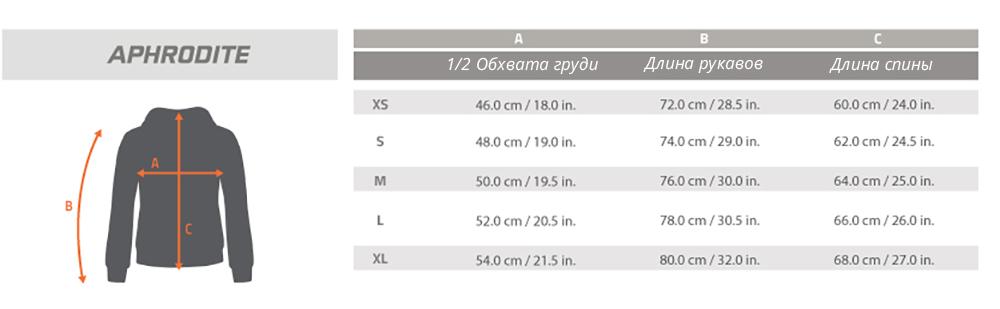 Размерная таблица толстовки Afrodite Pentagon