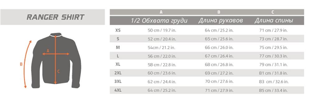 Размерная таблица рубашки Ranger Pentagon